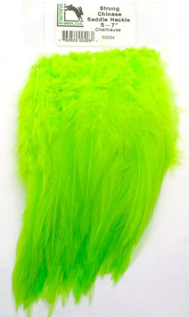 Hareline CHINESE SADDLE HACKLE 5 - 7'' Chartreuse SCSD54