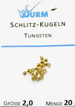 Wurm TUNGSTENKUGELN MIT SCHLITZ Gold 2,0mm