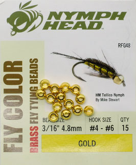 Nymph Head BRASS BEADS Gold 4,8mm