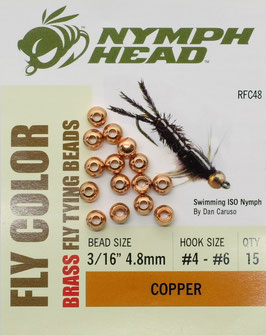 Nymph Head BRASS BEADS Copper 4,8mm