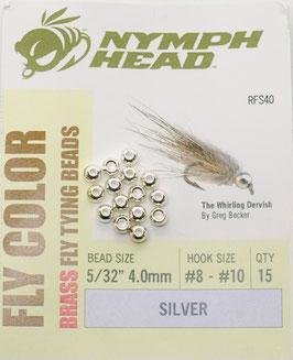 Nymph Head BRASS BEADS Silver 4,0mm