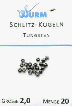 Wurm TUNGSTENKUGELN MIT SCHLITZ Schwarz 2,0mm