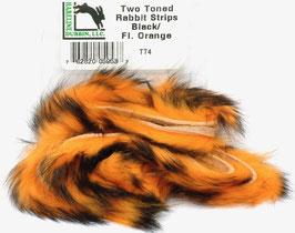 Hareline TWO TONE RABBIT STRIPS Black/ Fl. Orange TT4