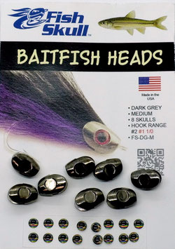 Fish Skull BAITFISH HEADS Dark Grey Medium FS-DG-M