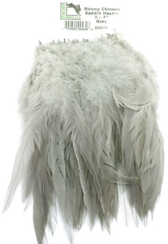 Hareline CHINESE SADDLE HACKLE 5 - 7'' Gray SCSD165