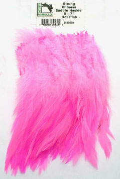 Hareline CHINESE SADDLE HACKLE 5 - 7'' Hot Pink SCSD188