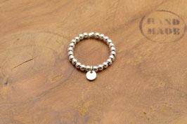925 Sterling Silber Ring aus Silberperlen und Plättchen