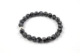 Männer Armband 925 Sterling Silber Obsidian