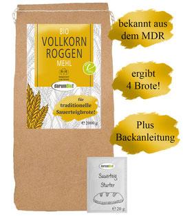 Bio Roggenmehl PLUS Sauerteig Starter vom Biohof  Lindenberg / Altmark