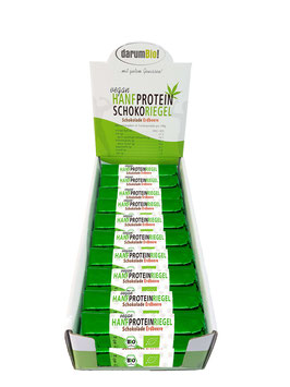 Hanf-Proteinriegel im Karton mit Hanfprotein vom Biohof  Lindenberg / Altmark