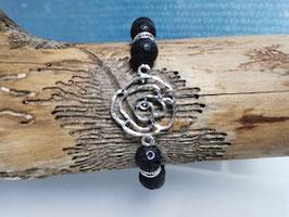 Lava Armband mit Antik Silber Rose
