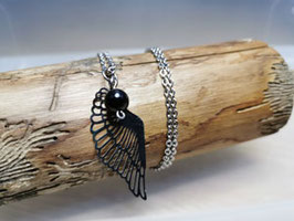 Silberkette Schwarzer Turmalin mit Engelsflügel