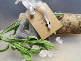 Kronenchakra - Lavendel Kräutersäckchen mit Bergkristall