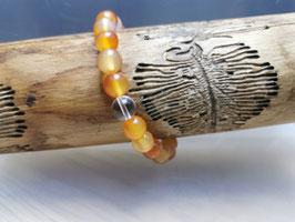 Karneol Armband 100% natur mit Bergkristallperle 8 mm