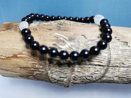 Schwarzes Turmalin Armband mit Mondstein