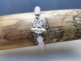 Rosenquarz Armband mit keltischem Knoten