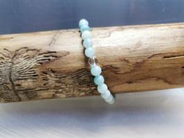 Amazonit  Armband mit Bergkristallperle  100 % Natur