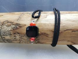 Schwarze Turmalin Kette mit Koralle & Bergkristall