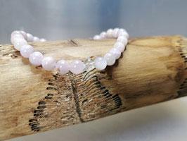 Kunzit Armband mit Bergkristall Perle