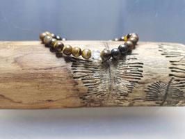 Tigerauge Armband mit Bergkristallperle 100 % Natur