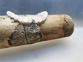 Armband Rosenquarz Lotusblüte  Anhänger
