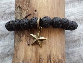 Charm Armband Lavastein mit Bronze Stern