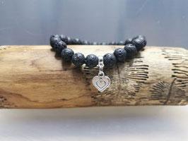 Lavastein Armband mit Herz