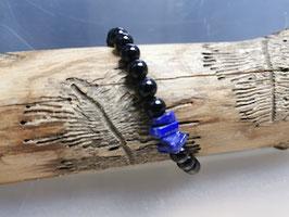 Schwarzes Turmalin Armband mit Lapislazuli