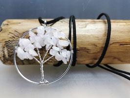 Kette mit Lebensbaum und Rosenquarz