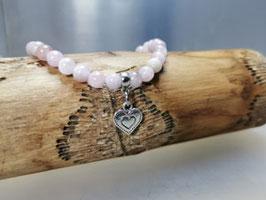 Kunzit Armband mit Herz Anhänger