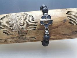 Armband mit Silberblume & Lavastein