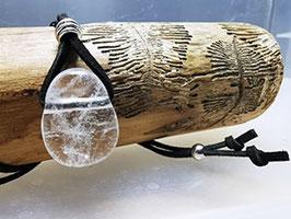 Bergkristall Kette am Lederband mit Silberperle