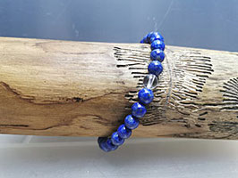 Lapislazuli Armband mit Bergkristallperle 100% natur