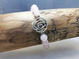 Rosenquarz Armband mit Rose