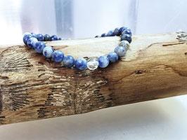 Sodalith Armband mit Bergkristallperle 100% Natur
