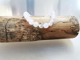 Rosenquarz Armband 8 mm mit Bergkristallperle  100% natur