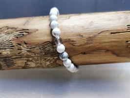 Armband Howlith 100% Natur mit Bergkristallperle