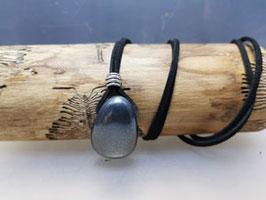 Hämatit Halskette mit Silberner Perle