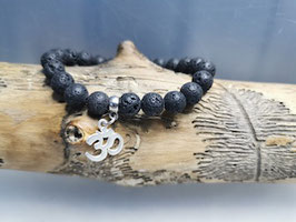 Armband mit Lavasteinperlen - Om Symbol
