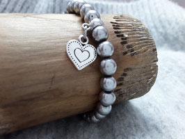 Hämatit-Armband poliert silbergrau mit Herz
