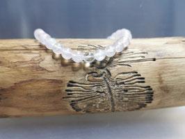 Rosenquarz Armband mit Bergkristallperle  100% natur