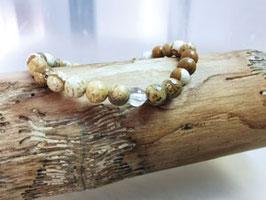 Jaspis Armband mit Bergkristallperle 100 % Natur