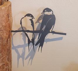 Metalbird - zwaluwenduo van cortenstaal
