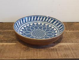 Houten slaschaal L met handbeschilderde binnenkant blauw
