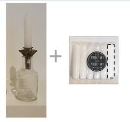 Set: glazen vaasje transparant recht + insteek houder + 6 kaarsen