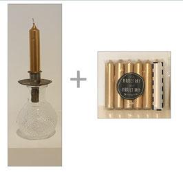 Set: bewerkt glazen buikvaasje  transparant + insteek kaarshouder + 6 kaarsen