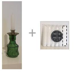 Set: bewerkt glazen vaasje groen + insteek kaarshouder + 6 kaarsen