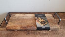 Borrelplank/serveerplank mangohout met metalen handvaten
