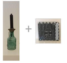 Set: glazen vaasje groen recht + insteek houder + 6 kaarsen
