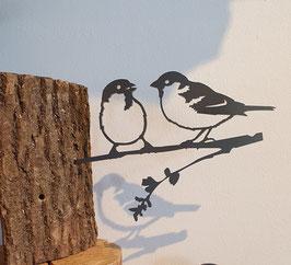 Metalbird - mussenduo van cortenstaal